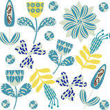 Colorful floral  seamless pattern and seamless pattern in swatch Stock Image