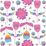 Colorful floral seamless pattern and seamless pattern in swatch menu,  image Stock Photo