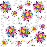 Colorful floral seamless pattern and seamless pattern in swatch Royalty Free Stock Photo