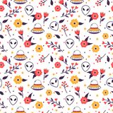 Colorful floral seamless pattern with spaceships and aliens. Colorful floral seamless pattern with spaceships and alien faces Stock Images