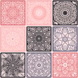 Colorful floral seamless pattern from squares. With mandala in patchwork boho chic style, in portuguese and moroccan motif Stock Image