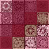 Colorful floral seamless pattern from squares. With mandala in patchwork boho chic style, in portuguese and moroccan motif Royalty Free Stock Photo