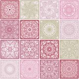 Colorful floral seamless pattern from squares. With mandala in patchwork boho chic style, in portuguese and moroccan motif Stock Images