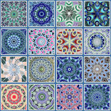Colorful floral seamless pattern. From squares with mandala in patchwork boho chic style, in portuguese and moroccan motif Royalty Free Stock Photography