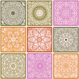 Colorful floral seamless pattern from squares. With mandala in patchwork boho chic style, in portuguese and moroccan motif Royalty Free Stock Image