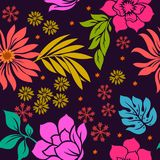 Colorful Floral seamless pattern on violet background. Design fabric nature vector leaf Royalty Free Stock Image