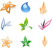 Colorful Floral signs. Vector set 1 Royalty Free Stock Photo