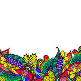 Colorful floral spring doodle border Stock Photo
