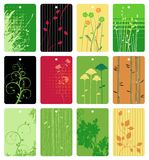 Colorful floral tags vector set Royalty Free Stock Photo