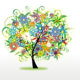 Colorful floral tree Stock Image