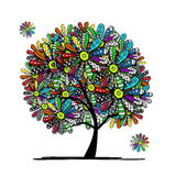 Colorful floral tree for your design Stock Photo