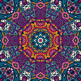 Colorful floral vector ethnic tribal pattern Stock Images