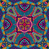 Colorful floral vector ethnic tribal pattern. Vector Tribal indian vintage ethnic seamless design. Festive colorful doodle pattern Stock Photo