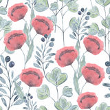 Colorful floral watercolor illustration. s. Tylized sprigs, berries,flowers on a white background Stock Illustration