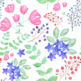 Colorful floral watercolor illustration. Stock Photo