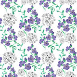 Colorful floral watercolor illustration. Vintage hand drawn blue flowers on a white background royalty free illustration