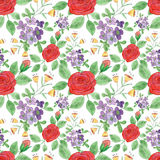 Colorful floral watercolor illustration. Vintage hand drawn flowers Royalty Free Illustration