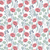 Colorful floral watercolor illustration. Vintage hand drawn red poppies, birds on a white background Vector Illustration