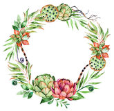 Colorful floral wreath with artichoke,flowers,leaves,feathers. Succulent plant,branches,raspberry,lotus and more.Floral rustic collection.Perfect for wedding Stock Images