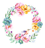 Colorful floral wreath with roses,flowers,leaves,succulent plant,branches,hummingbird and more. Royalty Free Stock Photo