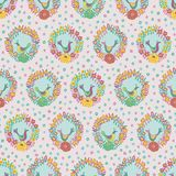 Colorful floral wreaths with birds folk seamless vector pattern background stock illustration
