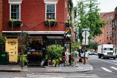 Colorful florist in Greenwich Village New york royalty free stock images