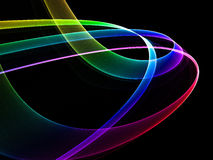 Colorful flow. Abstract colorful illustration of thin glowing ribbons Royalty Free Stock Image