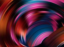 Colorful flow background. Realistic purple tunnel. Colorful flow background. Realistic purple light liquid wave as funnel. Color tornado top view. Swirl tunnel stock illustration