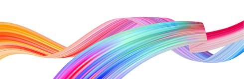 Colorful flow brush stroke. Ribbon isolated line royalty free stock photos