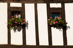 Colorful Flower Arragement on the windows in Austria Stock Image
