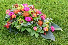 All Saints day flower arrangements, flowers for graveyard and funeral. stock photography