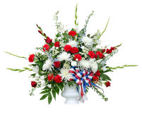 Colorful flower arrangement in urn stock photos