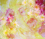 Colorful Flower Background Made with Color Filters, Watercolor Composition Royalty Free Stock Photography
