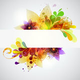 Colorful flower banner. The composition of flowers and water droplets stock illustration