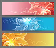 Colorful Flower Banners set. Set of Abstract Flower Vector Background. Brochure web or card design elements. Vector illustration Stock Image