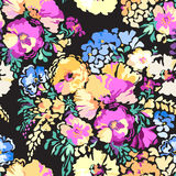 Colorful flower blooms - seamless background. Bright floral blooms fashion print Royalty Free Stock Images