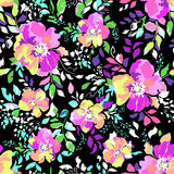 Colorful flower blooms - seamless background. Bright floral blooms fashion print Stock Photo