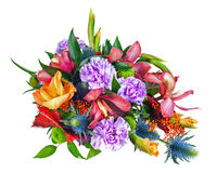 Colorful Flower Bouquet Arrangement Centerpiece Isolated on Whit Stock Images