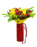 Colorful flower bouquet arrangement centerpiece in red vase isol Royalty Free Stock Photos