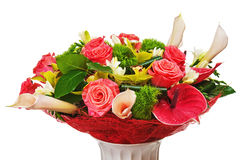 Colorful flower bouquet arrangement centerpiece in vase isolated Royalty Free Stock Images
