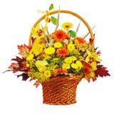 Colorful flower bouquet arrangement centerpiece in wicker basket Royalty Free Stock Photos
