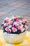 Colorful flower bouquet arrangement in round shape of carnation Royalty Free Stock Images
