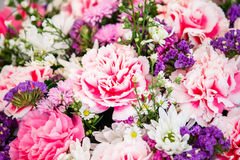 Colorful flower bouquet arrangement in round shape of carnation Stock Photos