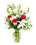 Colorful flower bouquet arrangement in vase. Isolated on white stock image