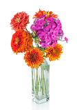 Colorful flower bouquet arrangement in vase isolated stock photo