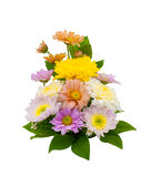 Colorful flower bouquet arrangement in vase isolated on white ba Royalty Free Stock Images