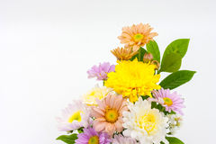 Colorful flower bouquet arrangement in vase isolated on white Royalty Free Stock Photos