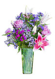 Colorful flower bouquet in green vase Royalty Free Stock Photography