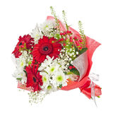 Colorful flower bouquet in red paper isolated on white backgroun Royalty Free Stock Images