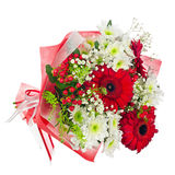Colorful flower bouquet in red paper isolated on white backgroun Stock Image